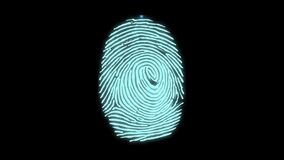 Animation of fingerprint black. Touch ID futuristic digital processing of biometric scanner concept and security