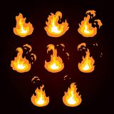 Animation of fire, flame, explosion. Sprite fire for game design. Vector illustration of a аnimation of fire Stock Image
