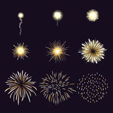 Animation of firework effect in cartoon comic. Style. Festival and event, celebrate and party. Vector illustration Royalty Free Stock Photography