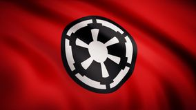 The animation of the flag of the Galactic Empire. The star Wars theme. Editorial only use.  vector illustration