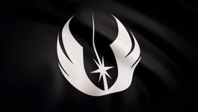 The animation of the flag of the Jedi Order Symbol. The star Wars theme. Editorial only use.  royalty free illustration