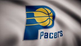 Animation of flag with symbol of Basketball Indiana Pacers. Editorial animation vector illustration
