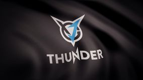 Animation of flag with symbol of Cybergaming VGJ Thunder. Editorial animation royalty free stock images