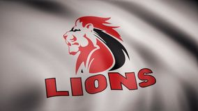 Animation of flag with symbol of Rugby Lions. Editorial animation stock illustration