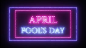 Animation flashing neon sign `April Fool`s Day`. Pink and blue royalty free illustration
