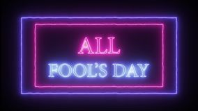 Animation flashing neon sign `Happy Fool`s Day`. Pink and blue royalty free illustration