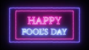 Animation flashing neon sign `Happy Fool`s Day`. Pink and blue stock illustration