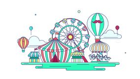 Animation flat line amusement park or theme park graphic design in creative advertising banner background. stock video