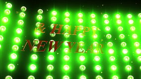 Animation of flood light with text of Merry Christmas and Happy New Year stock footage