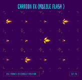 Animation frames or muzzle flash sprites. Muzzle flash explosion sprites or fx animation frames icons. Use in game development, mobile games or motion graphic Stock Photo