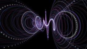 Animation futuriste avec l'objet de rayure de particules et lumière de clignotement dans le mouvement lent, 4096x2304 boucle 4K banque de vidéos
