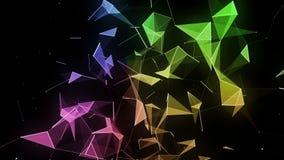 Animation futuriste avec les triangles rougeoyantes dans le mouvement lent, 4096x2304 boucle 4K illustration de vecteur