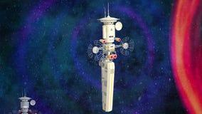Animation futuriste de station spatiale illustration de vecteur