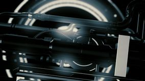 Animation of futuristic and high tech mechanism with light and rotation details with tubes, abstract machine background. stock video footage
