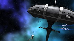 Animation of a futuristic space ship and warriors stock video