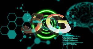 Animation of 5g text with data processing over glowing human brains and purple circles