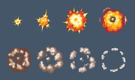 Animation of the explosion effect, broken into separate. Animation for game of the explosion effect, broken into separate frames. The effect of an explosion Stock Photos