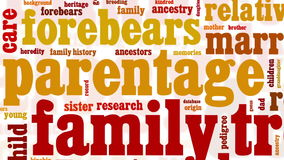 Animation of genealogy research related words stock video