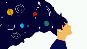 Animation, girl in headphones listening to music with cosmos instead of hair. Concept of cosmos inside human, universe