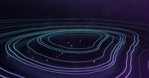 Animation of glowing lines in circular motion against blue background