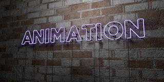 ANIMATION - Glowing Neon Sign on stonework wall - 3D rendered royalty free stock illustration Stock Photography