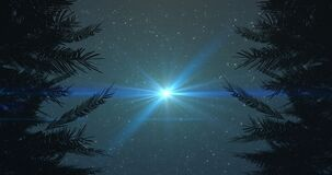 Animation of glowing spot flickering and disappearing on night sky with stars surrounded by trees