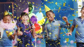 Animation of gold confetti over diverse happy children having fun dancing at party