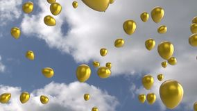 Floating gold balloons
