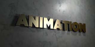 Animation - Gold sign mounted on glossy marble wall  - 3D rendered royalty free stock illustration. This image can be used for an online website banner ad or a Royalty Free Stock Photo