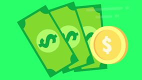 Animation golden coin and banknote for stock signals on green background.