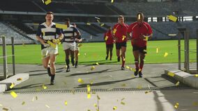 Animation of golden confetti falling over two multi-ethnic rugby teams running off a pitch