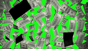 Animation graphic US dollar banknote texture pattern flying in chroma key green screen background pattern in financial concept stock video footage