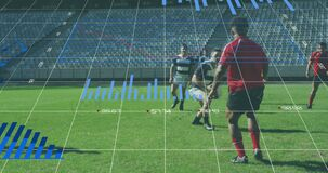 Animation of graphs with data and statistics over two multi-ethnic rugby teams playing rugby