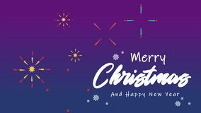 animation of greeting merry christmas and happy new year stock video footage