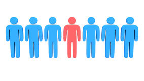 Animation group of stylized people with teamleader Royalty Free Stock Image