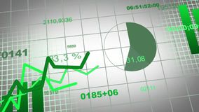 Animation of growing charts - design in green. Diagrams, bars, numbers, circles in move royalty free illustration
