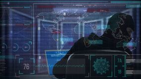 Animation of a hacker hooded man over a computer displaying information, world map marks red zones
