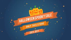 Animation Of Halloween Spooky Sale 50 Off Theme Background Royalty Free Illustration