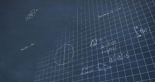 Mathematical calculations in chalk floating over a chalkboard background 4k