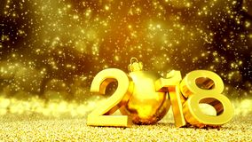 Animation - happy new year 2018 - golden greeting card