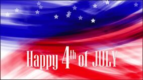 Animation. Happy 4th of JULY. Background of USA flag abstract grunge drawing. Blue, red watercolor stripes, falling