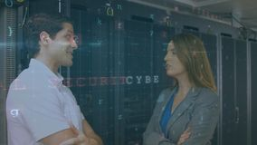 Man and woman talking in server room with moving security messages. Animation of the head and shoulders side view of a Caucasian man and woman talking in a stock footage