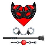 Animation heart in a mask. Set of erotic toys: handcuffs, stack, ball gag. Template for erotic content. Vector illustration isolated on a white background royalty free illustration