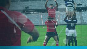 Animation of heartbeat monitor with a grid over two multi-ethnic rugby teams playing rugby