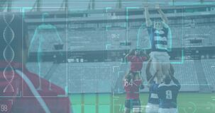 Animation of human body data and statistics over two multi-ethnic rugby teams playing rugby