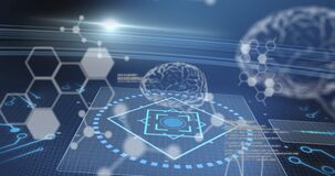 Animation of human brains and medical data processing over screens