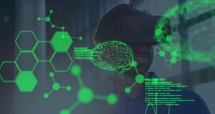 Animation of human brains spinning and data processing over businessman wearing vr headset
