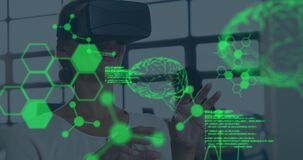 Animation of human brains spinning and data processing over businesswoman wearing vr headset