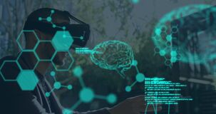 Animation of human brains spinning and data processing over man wearing vr headset