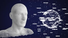 Animation of human bust made of grey particles and globe spinning data processing on blue background